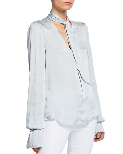 Martina Tie-Neck Long-Sleeve Blouse