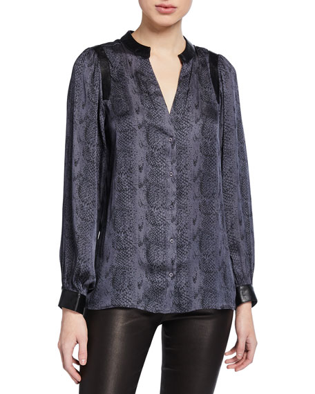 PAIGE Adeli Snake-Print Button-Up Top w/ Faux Leather
