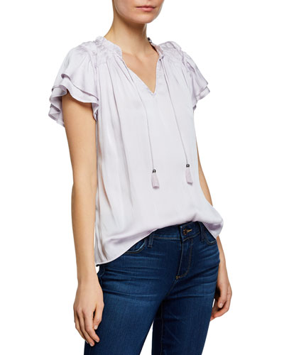 Laramie V-Neck Ruffle-Sleeve Top