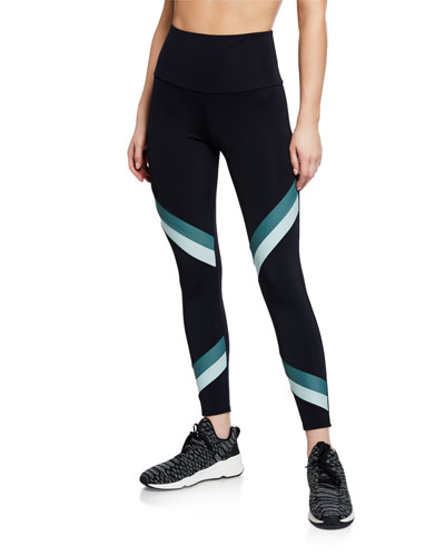 High-Rise Sporty Striped Performance Leggings