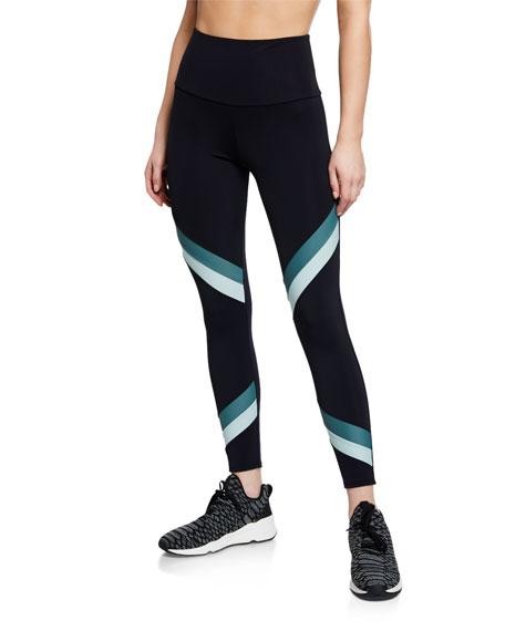 High-Rise Sporty Striped Performance Leggings