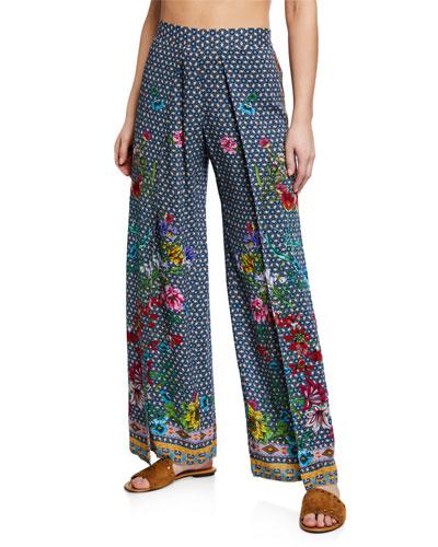 Dolce Dream Printed Split-Leg Coverup Pants