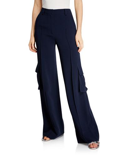 Kai Wide-Leg Crepe Pants w/ Cargo Pockets