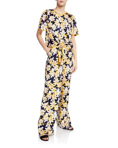 Kristi Floral Tie-Front Crop Top