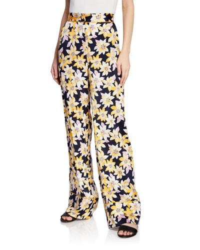 Margot Floral Silk Wide-Leg Cuffed Pants
