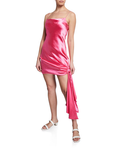 Ryder Crushed-Satin Draped Side Dress
