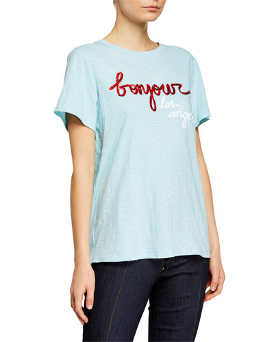 Bonjour Los Angeles Sequined Graphic Tee