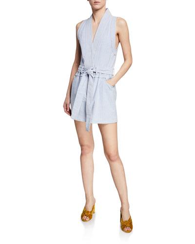 Striped Sleeveless Belted Vest Dress