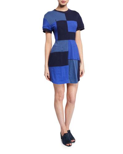 Patchwork Short-Sleeve T-Shirt Dress