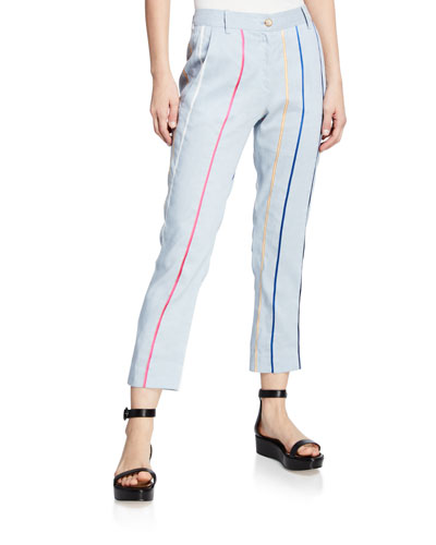Striped Tapered Cropped Trouser