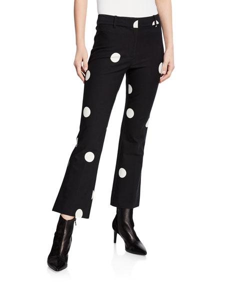 Derek Lam 10 Crosby Flared Polka-Dot Cropped Trousers
