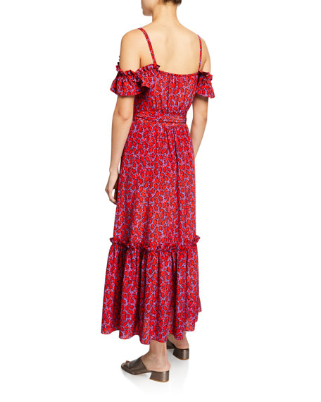 Cold-Shoulder Printed Cami Dress with Ruffle Hem