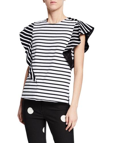 Stripe Top w/ Ruffle Sleeves