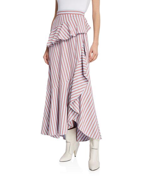 Stripe Poplin Ruffle Wrap Midi Skirt