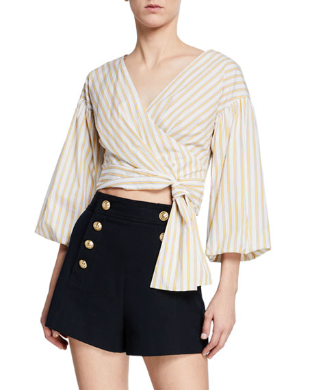 Derek Lam 10 Crosby Cottons STRIPED BELL-SLEEVE CROPPED TIE-WAIST BLOUSE