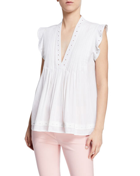 Derek Lam 10 Crosby V-Neck Sleeveless Pintucked Top