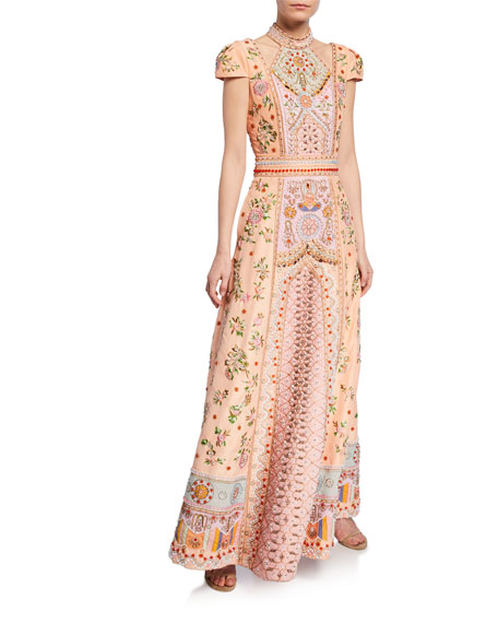 Alice + Olivia Nidia Embellished Shoulder-Cutout Cap-Sleeve Gown