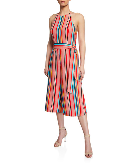 c741a926ee2 Alice + Olivia Lucie Striped Cropped Wide-Leg Halter