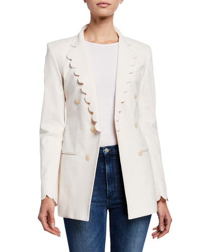 Button-Front Scallop Blazer
