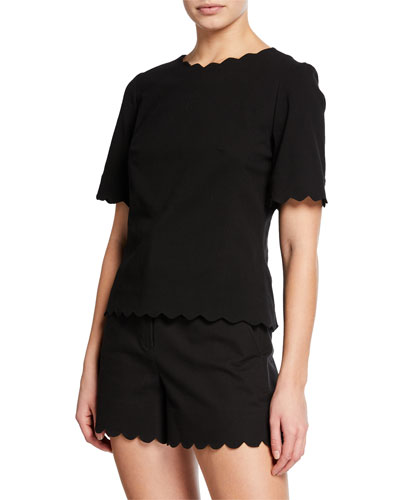 Crewneck Short-Sleeve Scallop Top