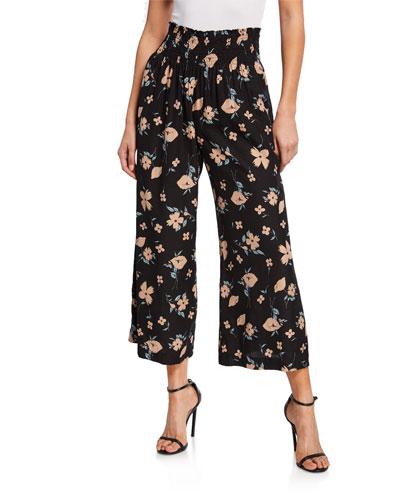 Daniella Floral-Print Smock-Waist Wide-Leg Pants