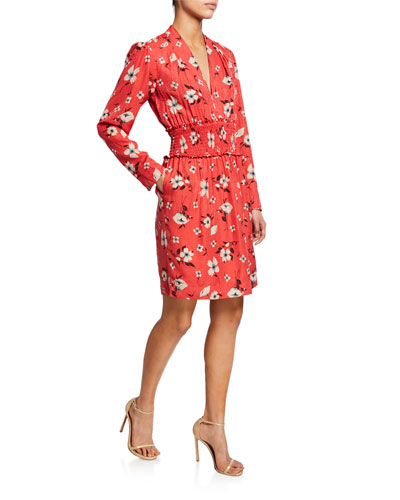 Daniella Floral-Print Long-Sleeve Smocked-Waist Dress