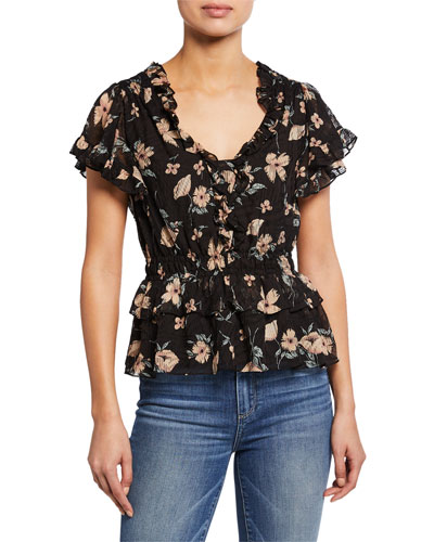 Daniella Floral-Print V-Neck Short-Sleeve Ruffle Top