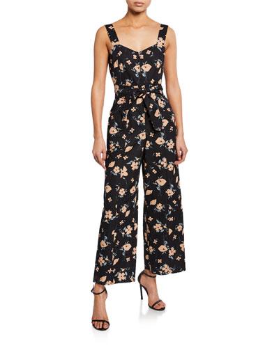 Daniella Floral-Print Sweetheart Sleeveless Jumpsuit
