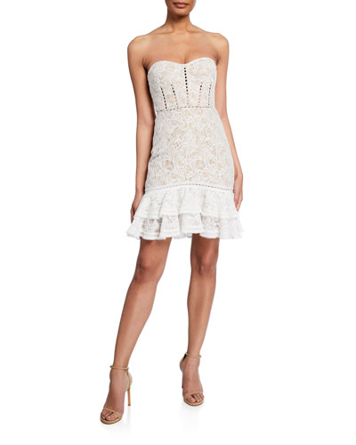 Strapless Multimedia Bustier Lace Ruffle Cocktail Dress