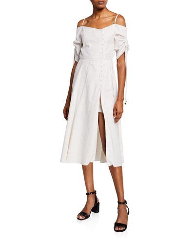 Off-Shoulder Slit-Front Midi Dress