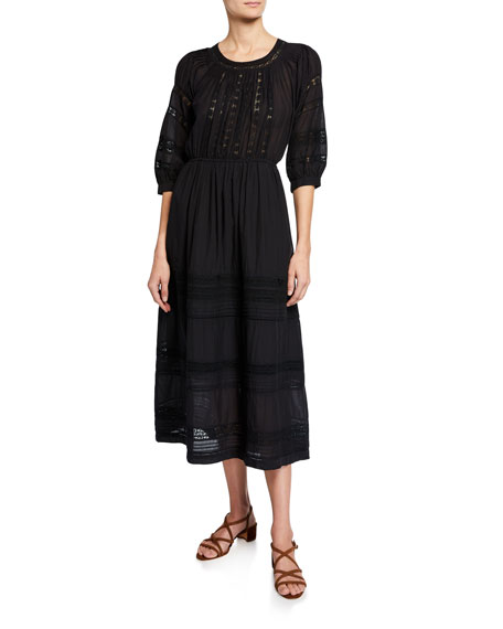 Sea Dresses ASTER PINTUCK DAY DRESS WITH LACE INSETS