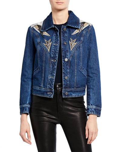 Leather Patch Snakeskin Denim Jacket