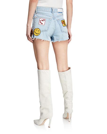 Frayed Embellished Denim Shorts