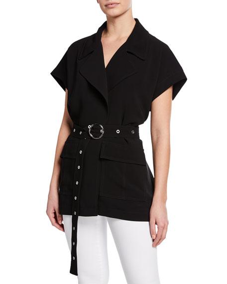 cinq a sept Hunter Waist-Tie Short-Sleeve Jacket 5d023db0d