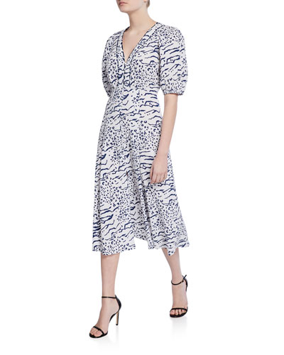 Ariela Printed Button-Front Midi Dress