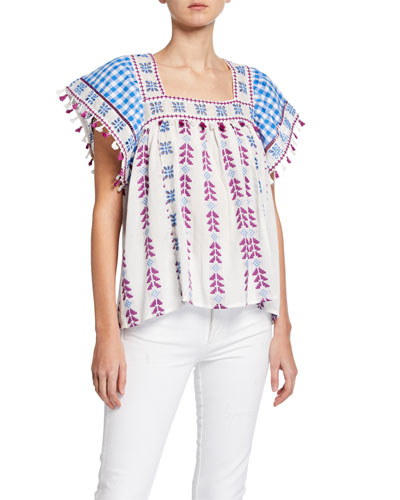 Teresa Embroidered Square-Neck Top