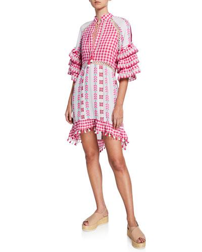Lola Ruffle-Sleeve Printed Tassel Dress