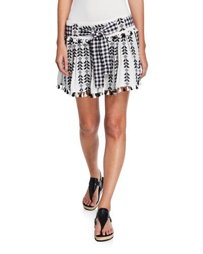 Ariana Embroidered Tassel Self-Tie Skirt