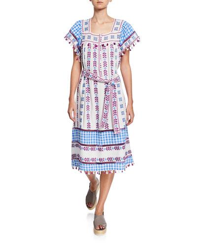 Teresa Embroidered Short-Sleeve Gingham Midi Dress