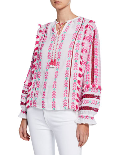 Joelle Embroidered Long-Sleeve Top