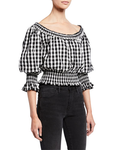 Crista Gingham 3/4-Flare Sleeve Top
