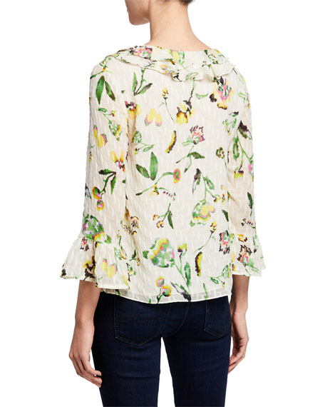 Alexa Floral-Print Ruffle Top