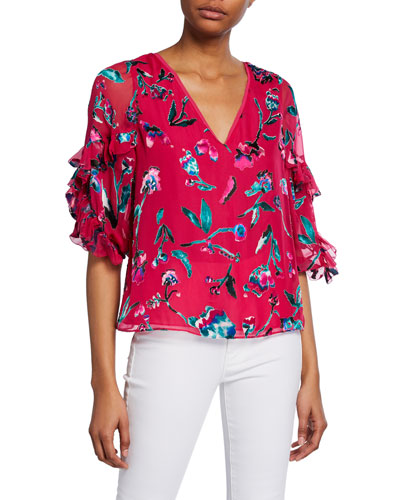 Margarita Printed Ruffle V-Neck Top