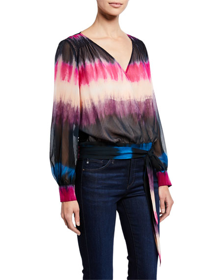 Tanya Taylor Tops KLARA TIE-DYE LONG-SLEEVE SILK TOP