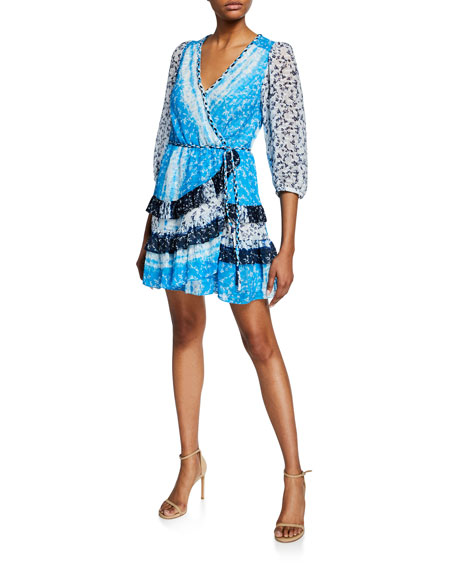 Tanya Taylor Dresses PATCHWORK TIE-FRONT FLOUNCE WRAP DRESS