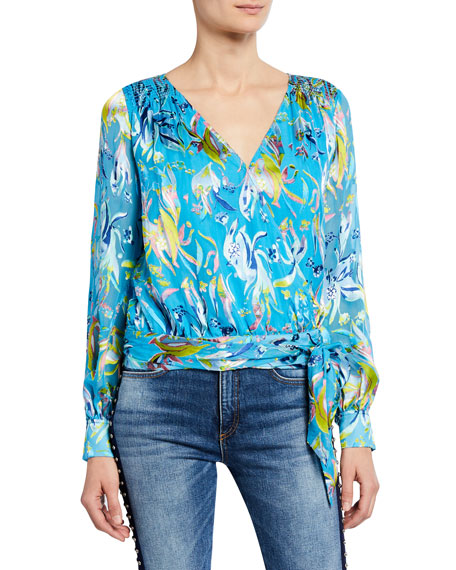 Tanya Taylor Tops KLARA LONG-SLEEVE WRAP TOP