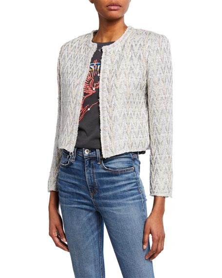 Makilo Cropped Metallic Tweed Jacket