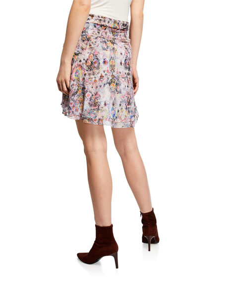 Image 1 of 1: Orchus Gathered Silk Printed Short Skirt