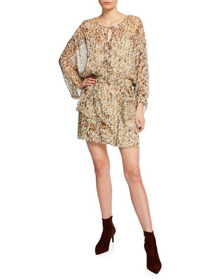 Iro Dresses CAPRIO LEOPARD-PRINT LONG-SLEEVE SHORT DRESS