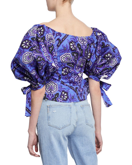 Nella Printed Puff-Sleeve Crop Top